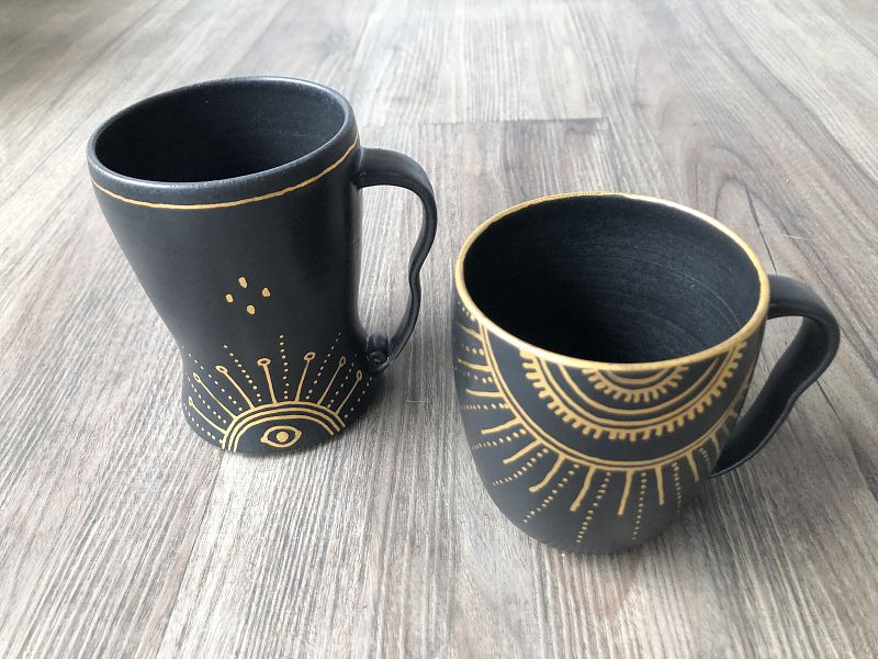 Black and Gold Lustre Mugs